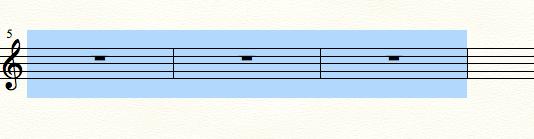 finaleで3小節を選択している例
