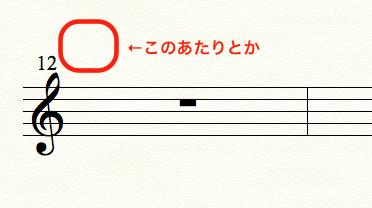 finaleで発想記号を入れたい箇所を赤枠で囲っている