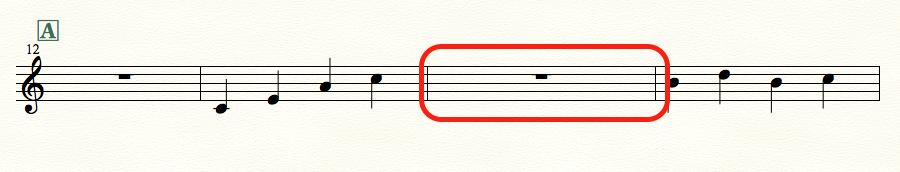 finaleで1小節分挿入した例