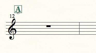 finaleで楽譜にリハーサルマークが入った例